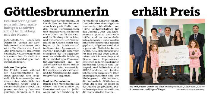 """Blühendes Österreich verleiht einer Göttlesbrunnerin den Award """"Die Brennnessel"""" ...-"""