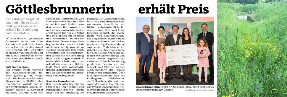 Projekt in Göttlesbrunn gewinnt